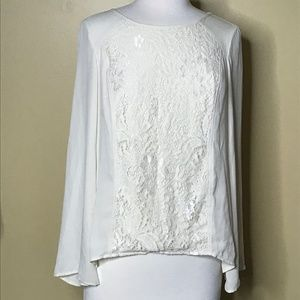 AB Studio White Blouse with Lace (M)